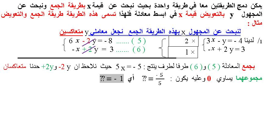 شرح مفصل لحل جملة معادلتين 13043433611