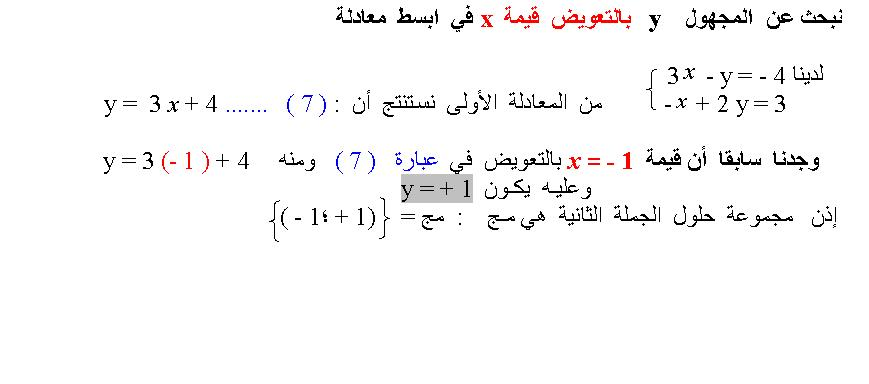 شرح مفصل لحل جملة معادلتين 13043450011