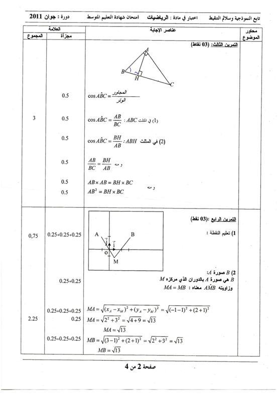 تصحيح الرياضيات شهادة 2011 13082719122